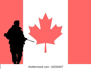 Silhouette of a Canadian soldier with the flag of Canada in the background
