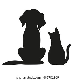 Silhouette of cat and dog on white background