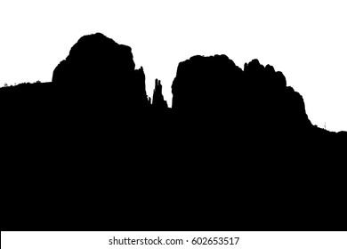 Silhouette of Cathedral Rock, a famous sandstone landmark in Sedona, Arizona, USA, in black and white, for themes of time, geology, and the American Southwest