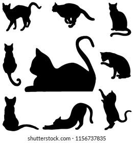 silhouette cats in black for illustration