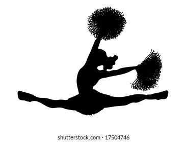 silhouette of cheerleader on white background