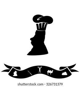 Silhouette of chef in hat. Black flat icon and bonus pictogram with ribbon. Illustration symbol on white background
