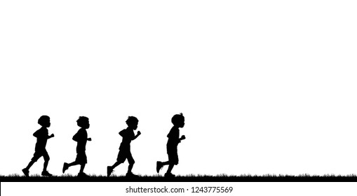 Silhouette child running  on white background
