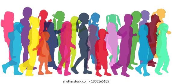 Silhouette von Kindern auf weißem Hintergrund.