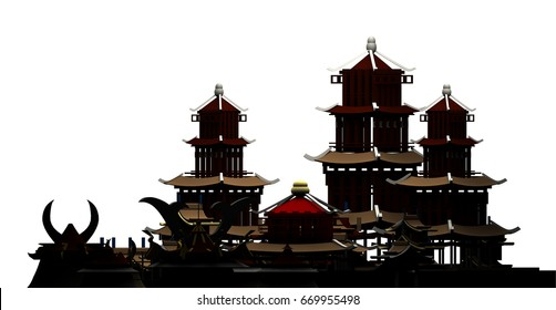 Silhouette of chinese buildings pagoda ancient city 3d rendering