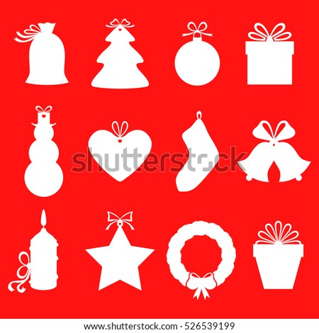 silhouette christmas gifts labels decorated bows stock illustration