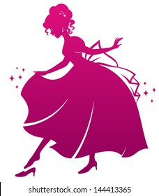 silhouette of Cinderella wearing her glass slipper (vector available in my gallery)