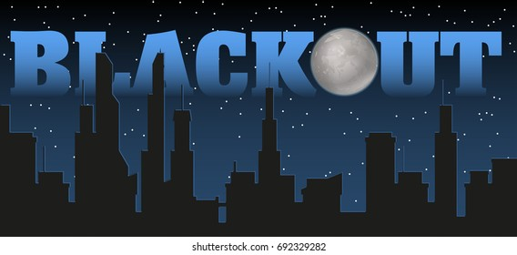 Silhouette of the city and night with stars, fool moon at the dark sky and blackout title. illustration