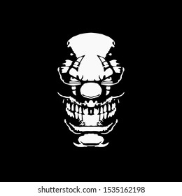 Silhouette Clown Illustration. T-Shirt Clothing Design, Mascot Logo Icon . Skull Head, Scary Smile. Happy Halloween