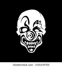 Silhouette Clown Skull . Black And White Color . Halloween Decoration Skull . Clown Mask illustration.  T-Shirt Design . Mascot Logo