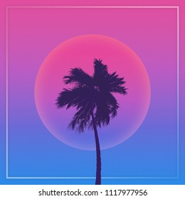 Silhouette coconut palm trees on a gradient background sunset. Vaporwave.  Aesthetics. 3D Illustration.