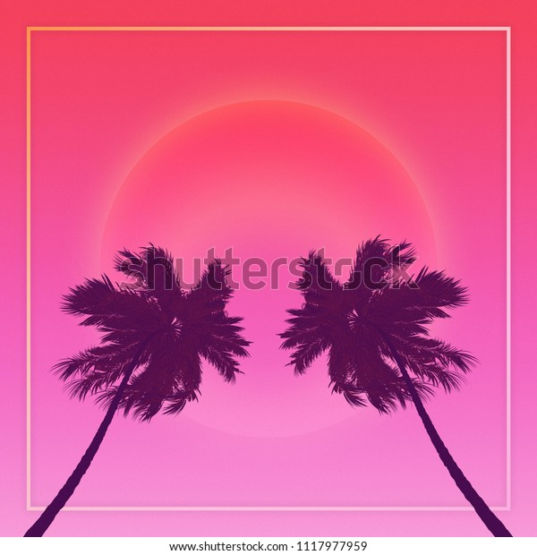 Silhouette Coconut Palm Trees On Gradient Stock Illustration