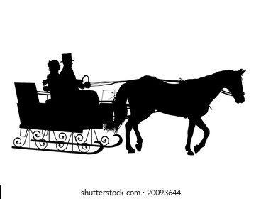 silhouette of couple in horse drawn sleigh