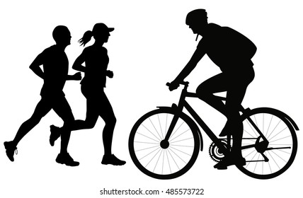 Silhouette of a cyclist and running people men and woman jogging