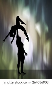 Silhouette of a dancing couple acrobatic postures. 3d illustration background with smooth color gradients.