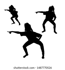 silhouette of a dancing girl on a white background