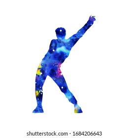silhouette of a dancing man with watercolor texture on white background. A male street dance hip hop dancer. isolated man for logo, sticker, logotype, poster. Illustration for dance studio