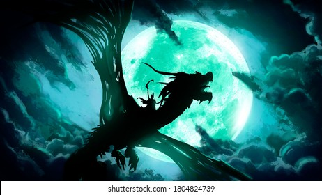 The silhouette of a dead dragon with huge wings, flying against the background of a huge green moon in the clouds, on its back a rider with a scythe.  2D illustration