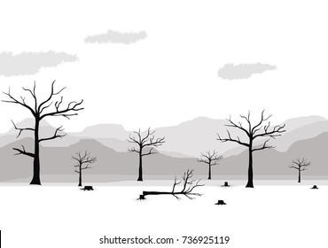 Silhouette dead tree and mountain on white background