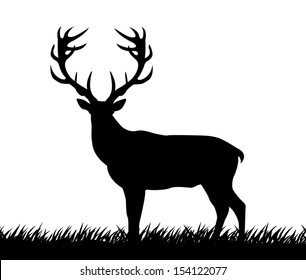 silhouette deer with great antler/ illustration