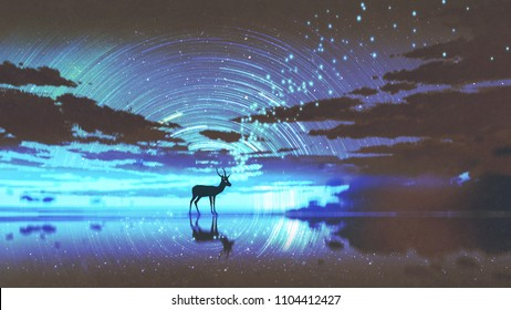 silhouette of the deer walking on water against night sky with blue light, digital art style, illustration painting