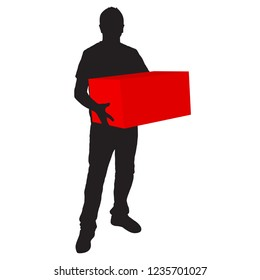 Silhouette of deliveryman carrying a box on white background