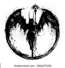 A silhouette of a demon girl with huge wings holds a strange staff in her hand, she has long horns, she soars in the air. 2D illustration