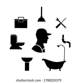 Silhouette design of plumbing service