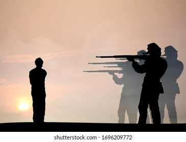Silhouette of a detachment of military soldiers executing a criminal for the concept death by firing squad.