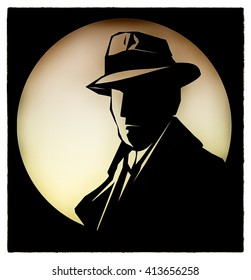 Silhouette of  detective cartoon style