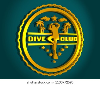 Silhouette of diver. Graphic design of stamp. The concept of sport diving. 3D rendering