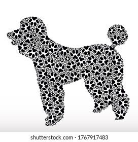 Silhouette of a dog made with dog tracks