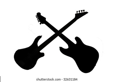 Silhouette of an electric guitar and a bass guitar crossed