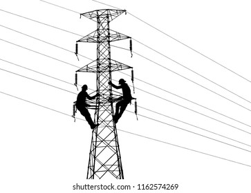Silhouette Electrical engineers working on electricity pylon high tension power line repairs and maintenance on white background