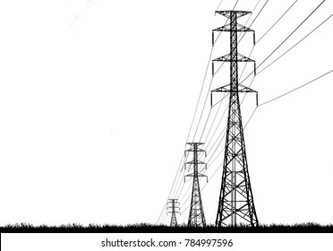 silhouette electricity pole, electricity pylons technology on white background