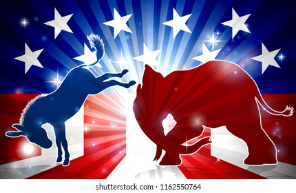A silhouette elephant and donkey with an American flag in the background democrat and republican political mascot animals