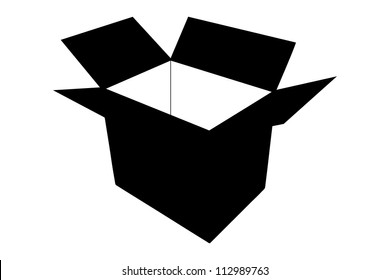 A silhouette of an empty paper box isolated on white background
