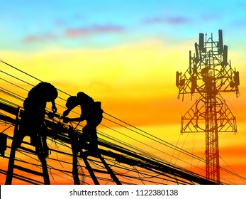 Silhouette engineers on wooden staircase are working to connect telephone lines and large receiving antenna with blur sunrise sky background on technology and development concept, illustration mode