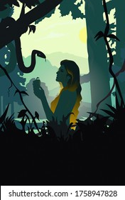 Silhouette of Eve and the Serpent, grain textured, Old Testament Genesis, religious illustration imagery, my art concept