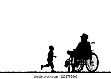 silhouette of a family in a wheelchair.