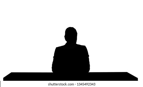 Silhouette A female newsreader presenting the news, add your own text or image screen behind her.