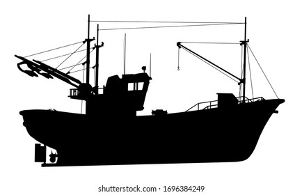 Silhouette of a fishing trawler Computer generated 2D illustration