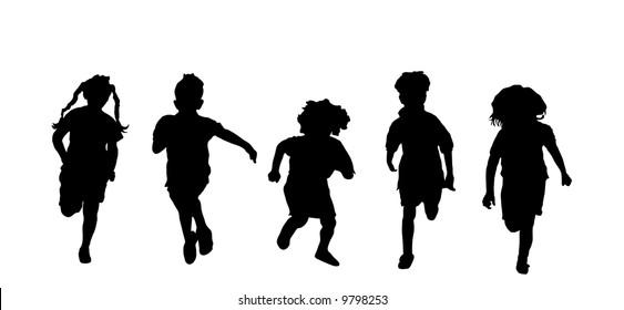 silhouette of five children running