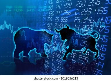 silhouette form of bull and bear on financial stock market graph represent stock market risk or random trend investment