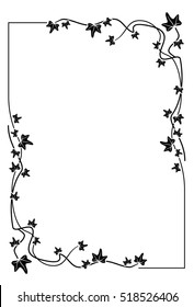 Silhouette frame with ivy. Copy space. Raster clip art.