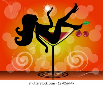 silhouette of a girl in a cocktail glass on a bright background