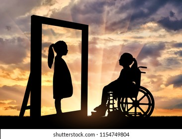 Silhouette of a girl a disabled child sitting in a wheelchair looking in the mirror and sees herself in a healthy reflection. Concept of children with disabilities in rehabilitation