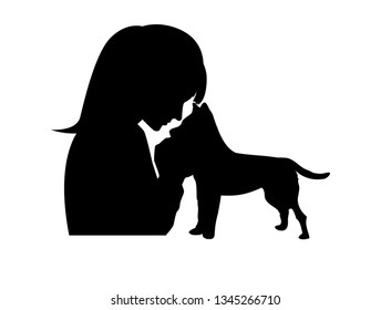silhouette of a girl with a dog on a white background - illustration concept