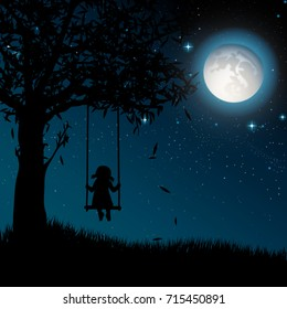 Silhouette of girl on swing. Night