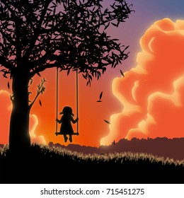 Silhouette of girl on swing. Sunset
